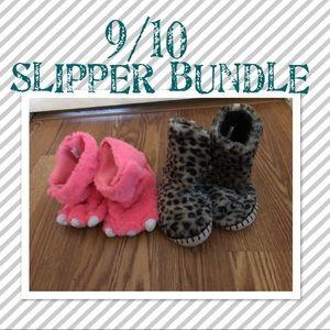✨pink monster feet/ cheetah print slippers 9/10